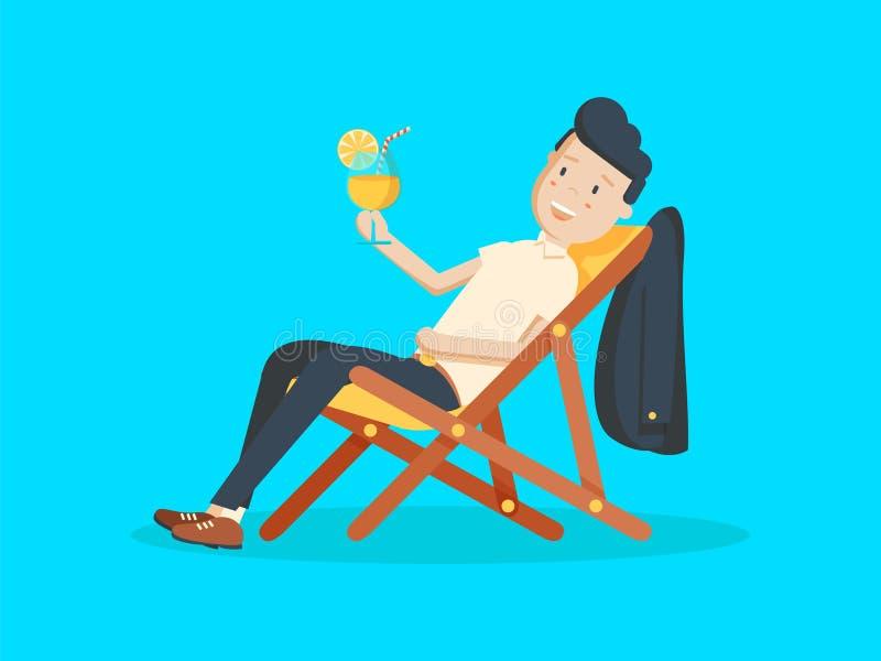 Hombre de negocios Relaxing de la historieta el vacaciones con el cóctel tropical Vacaciones de verano stock de ilustración