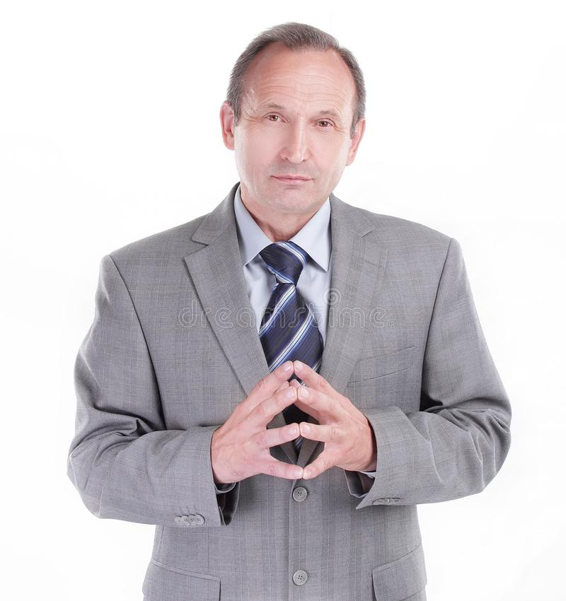 Hombre de negocios responsable en un fondo blanco Foto con el espacio de la copia imagen de archivo