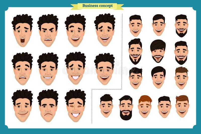 Hombre de negocios Retrato del hombre joven Diversas expresiones masculinas del avatar fijadas stock de ilustración