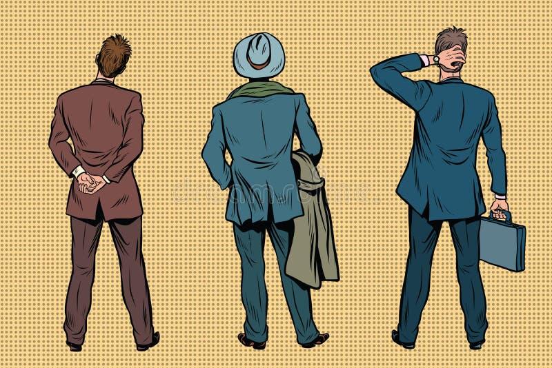 Hombre de negocios retro tres que retrocede libre illustration