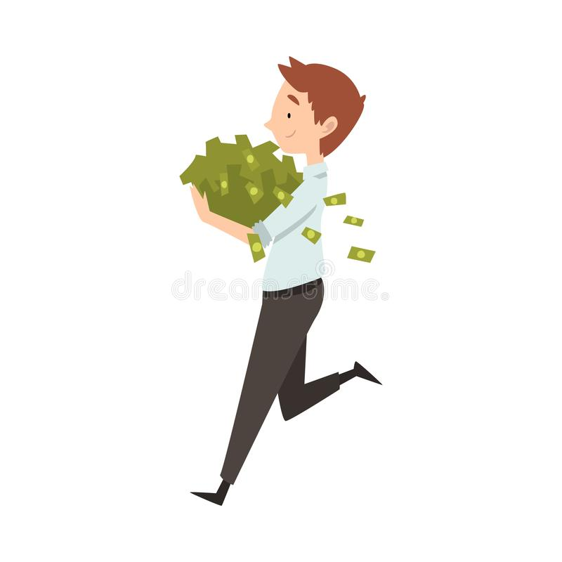 Hombre de negocios rico feliz Running con la porción de dinero, ejemplo de Lucky Successful Rich Person Vector ilustración del vector