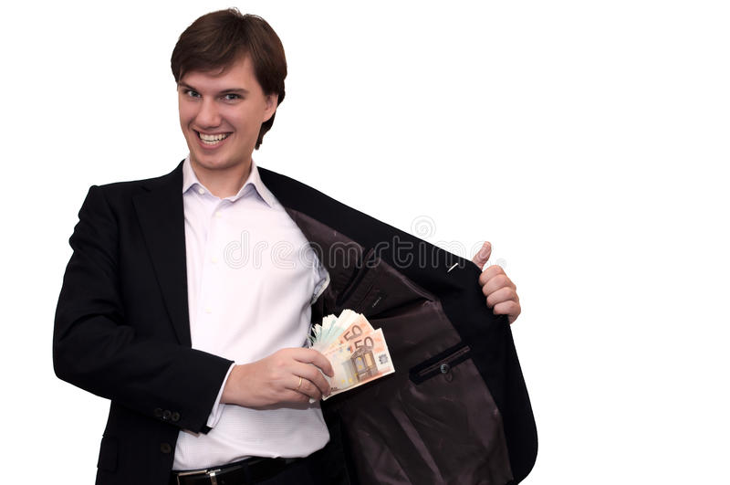 Hombre de negocios rico y malvado, aislado en whi fotos de archivo libres de regalías