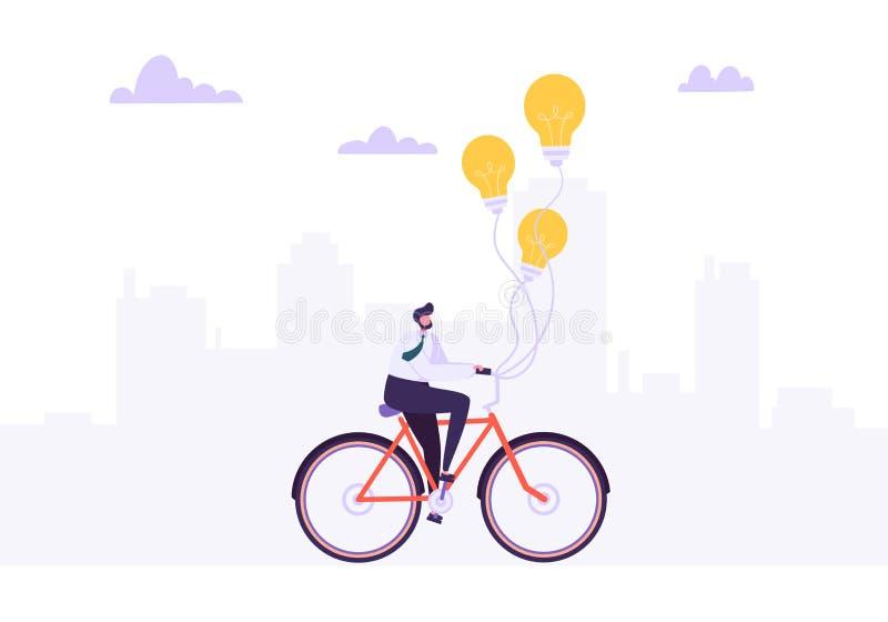 Hombre de negocios Riding en la bici a trabajar Carácter del oficinista en la bicicleta con la bombilla Transporte de la ecología libre illustration
