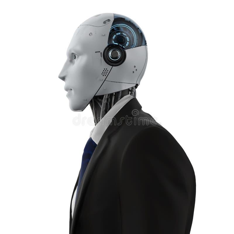 Hombre de negocios robótico aislado
