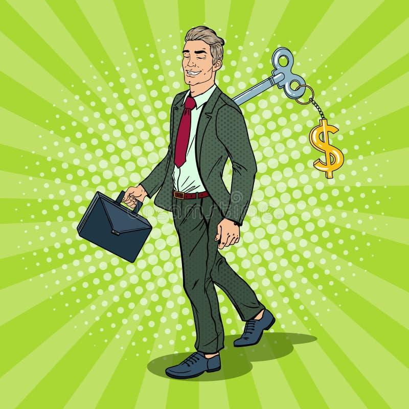 Hombre de negocios robótico con la llave el suyo detrás Automatización del trabajo Ejemplo del arte pop ilustración del vector