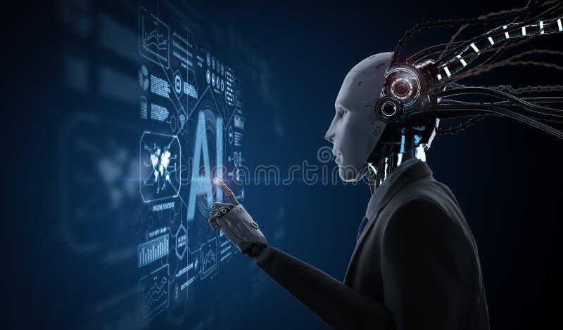 Hombre de negocios robótico con la representación gráfica