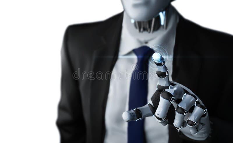 Hombre de negocios robótico con la representación gráfica ilustración del vector