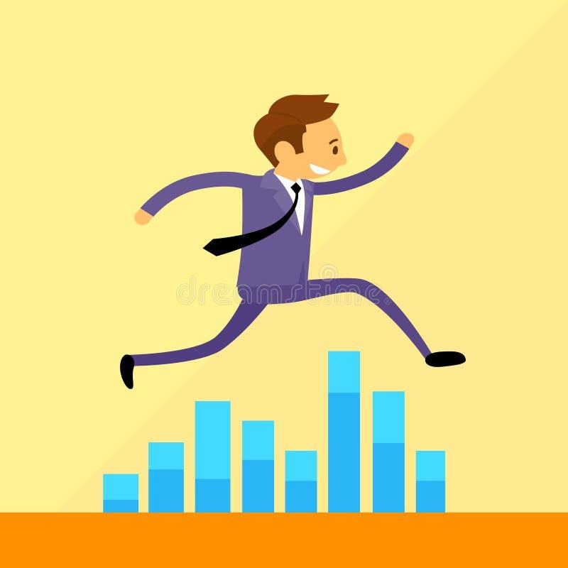 Hombre de negocios Run Jump sobre gráfico de barra financiero stock de ilustración