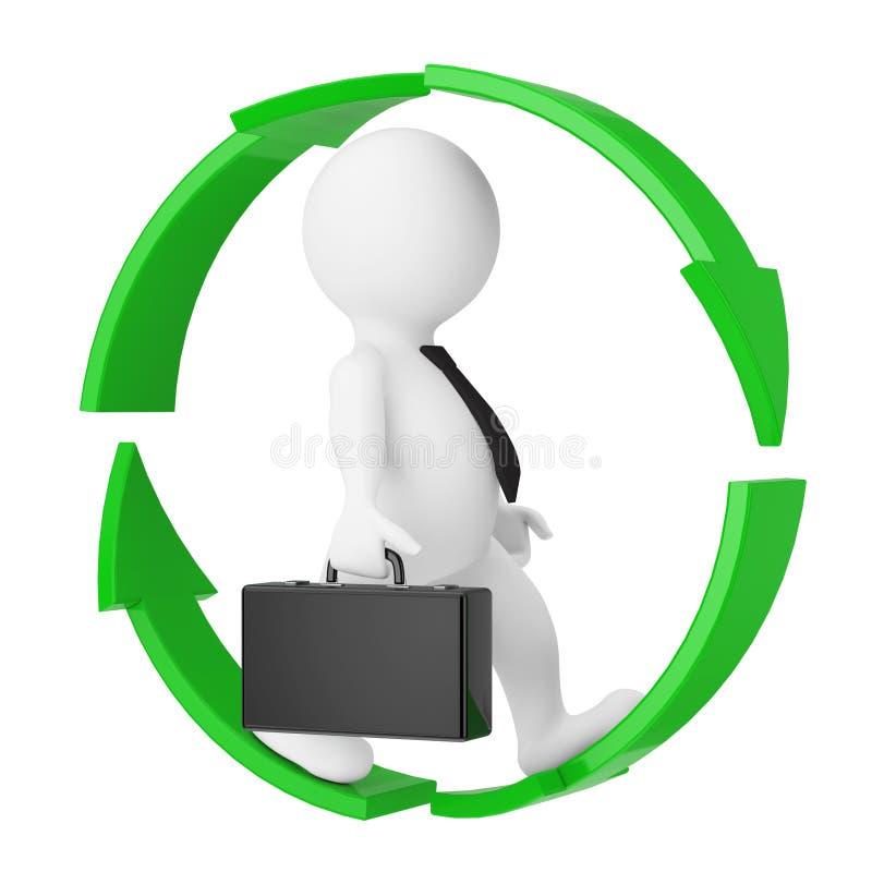 Hombre de negocios Running en rueda verde de las flechas representación 3d libre illustration