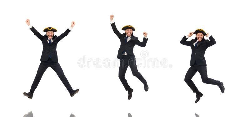 Hombre de negocios de salto que lleva tricorne aislado en blanco fotografía de archivo libre de regalías