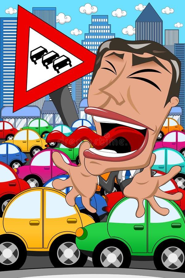 Hombre de negocios Screaming Traffic Jam de la caricatura ilustración del vector