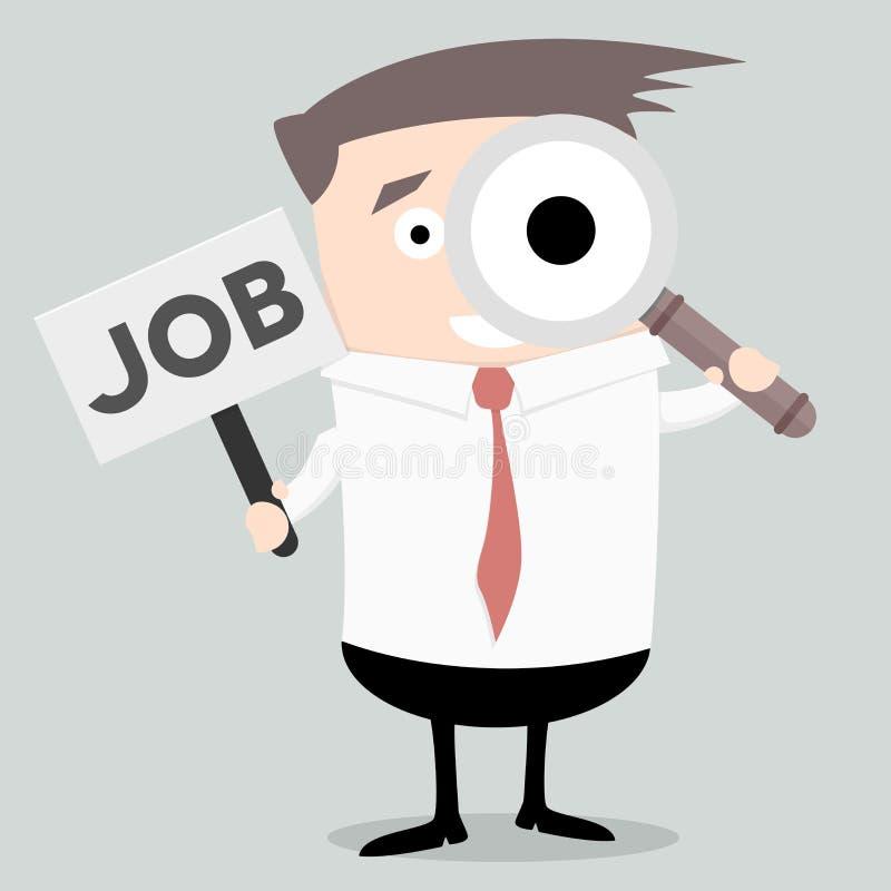 Hombre de negocios Search Job stock de ilustración