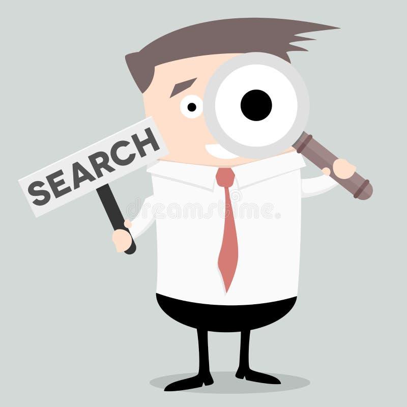 Hombre de negocios Search Sign ilustración del vector
