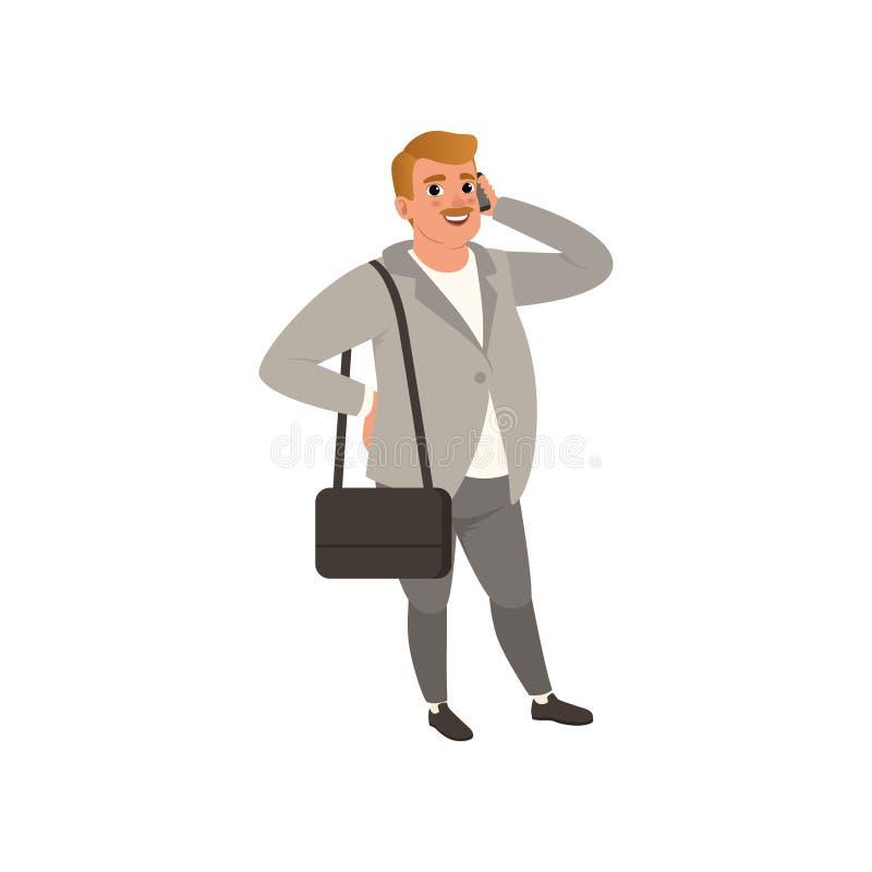 Hombre de negocios seguro de sí mismo que se coloca con el bolso en hombro stock de ilustración
