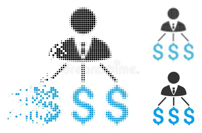Hombre de negocios de semitono destrozado Expenses Icon de Pixelated ilustración del vector