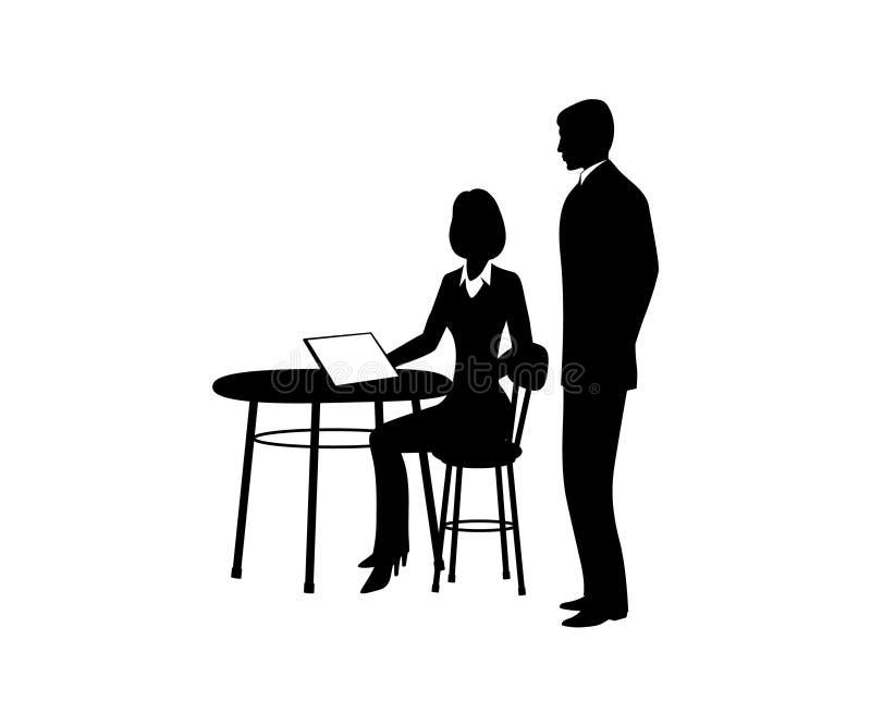 Hombre de negocios, sentándose en una tabla con un ordenador, hablando con un empleado libre illustration
