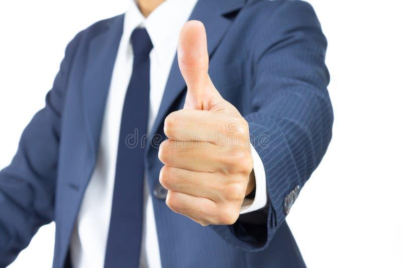 Hombre de negocios Show Thumb Up aislado en el fondo blanco fotos de archivo libres de regalías