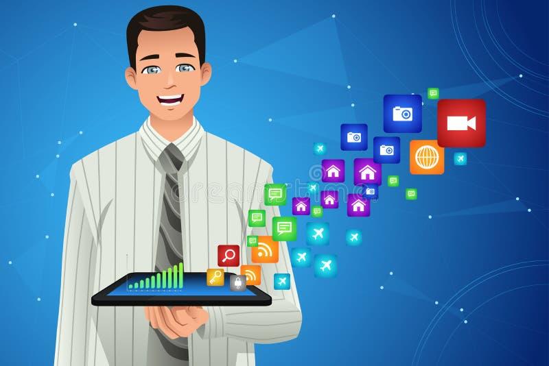 Hombre de negocios Showing Multimedia Icons de su tableta ilustración del vector