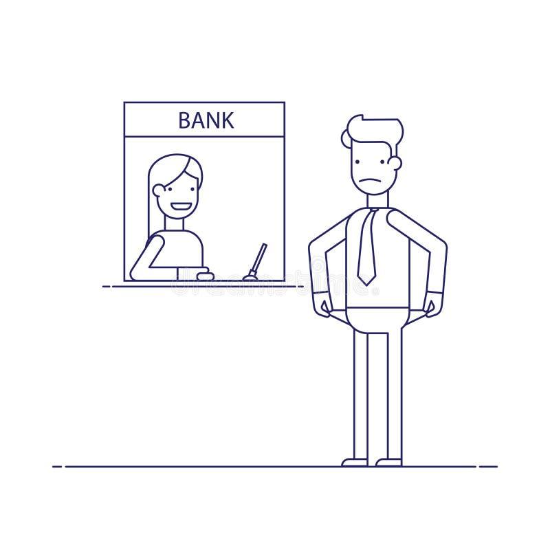 Hombre de negocios sin el dinero nada pagar el préstamo, la deuda al banco El hombre no es el dinero a pagar Hombre en difícil ilustración del vector