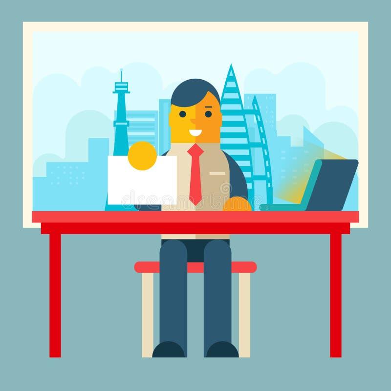 Hombre de negocios Sitting Table con el contrato de papel libre illustration