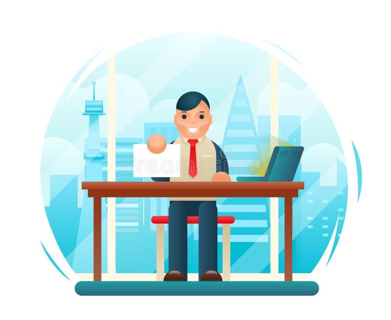 Hombre de negocios Sitting Table con vector plano de la plantilla del concepto de diseño del contrato del bulbo de la muestra de  libre illustration