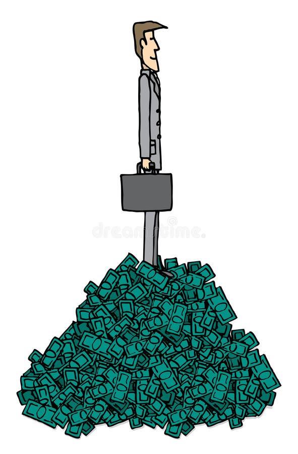 Hombre de negocios rico sobre la pila de dinero/de negocio acertado ilustración del vector