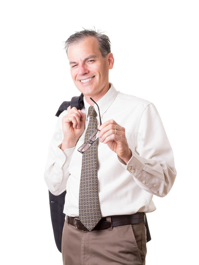 Hombre de negocios sonriente con el jacktet y el lazo fotografía de archivo
