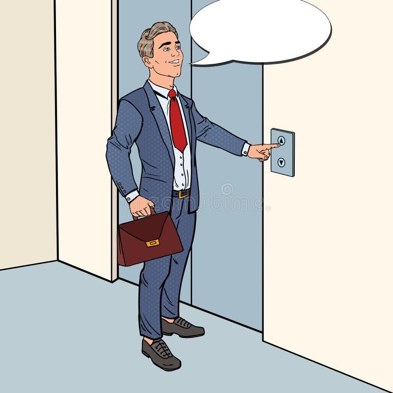 Hombre de negocios sonriente con la cartera que presiona el botón del elevador Ejemplo del arte pop stock de ilustración