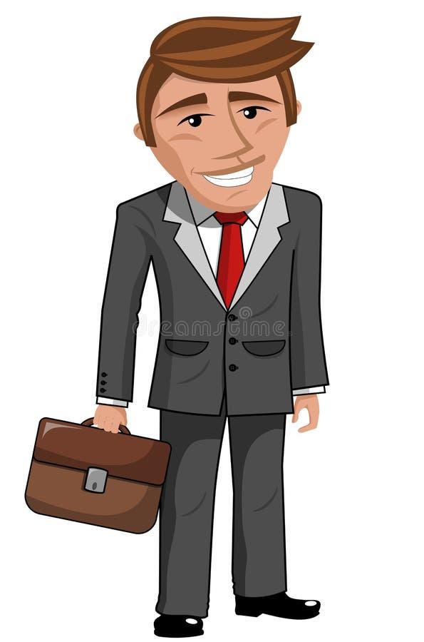 Hombre de negocios sonriente de la historieta que sostiene la cartera libre illustration