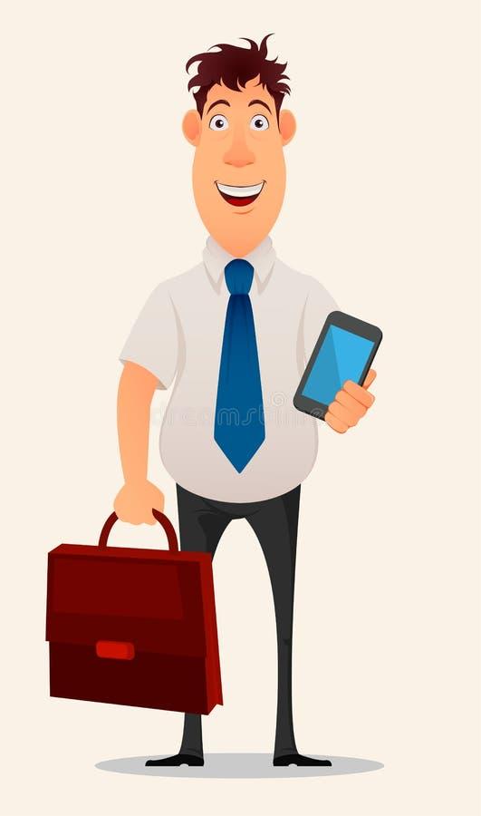 Hombre de negocios sonriente en la camisa y los pantalones de la oficina que sostienen la caja del ordenador portátil y del docum ilustración del vector