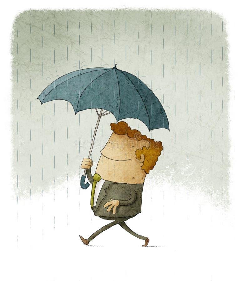 Hombre de negocios sonriente en la lluvia debajo de un paraguas ilustración del vector