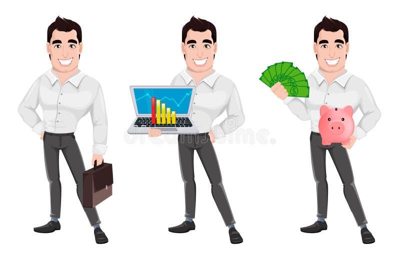 Hombre de negocios sonriente feliz del businessmanYoung hermoso muscular, sistema de tres actitudes ilustración del vector
