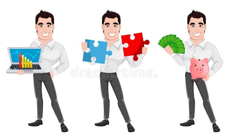 Hombre de negocios sonriente feliz joven, sistema de tres actitudes stock de ilustración