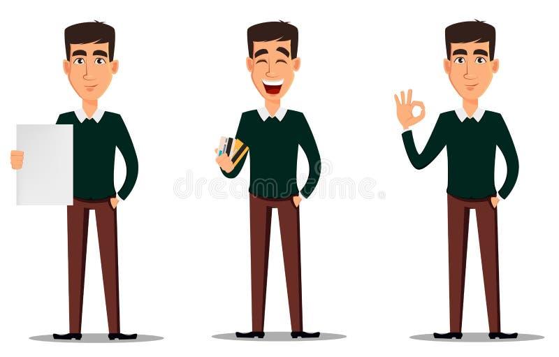 Hombre de negocios sonriente hermoso joven en showi elegante de la ropa casual stock de ilustración