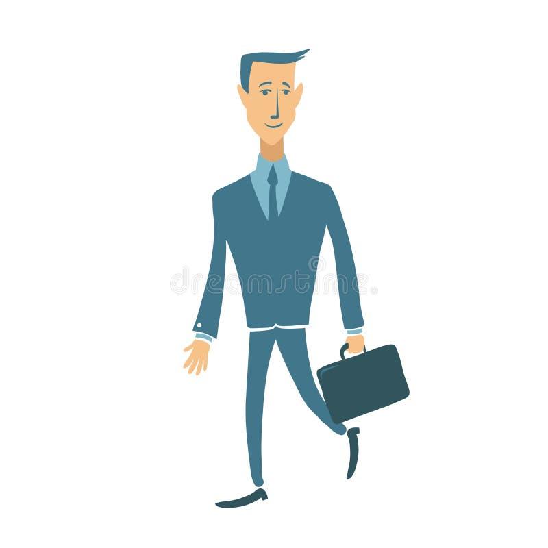 Hombre de negocios sonriente que camina con la cartera Ejemplo plano del carácter del vector, aislado en blanco libre illustration