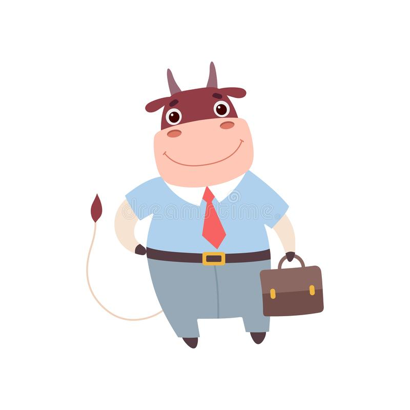 Hombre de negocios sonriente Wearing Formal Clothes, situaci?n linda de Bull del personaje de dibujos animados del animal del cam stock de ilustración