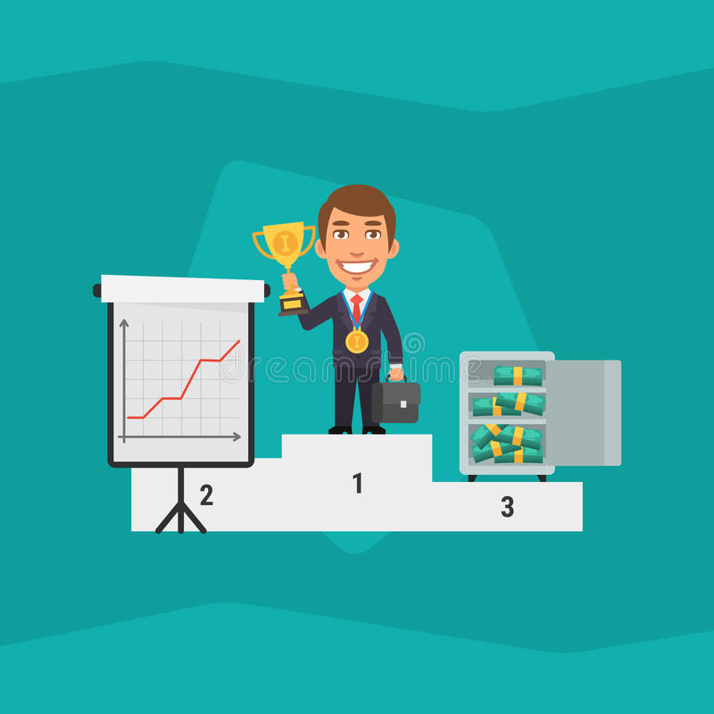 Hombre de negocios Standing en pedestal y la taza el sostenerse libre illustration
