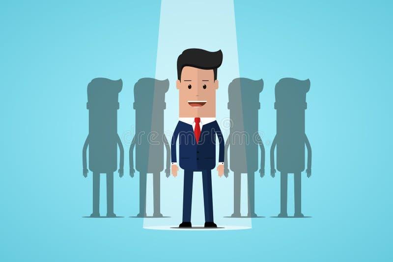Hombre de negocios Standing In Spotlight Reclutamiento y elegir a los mejores candidatos Gestión de recursos humanos, encontrando libre illustration