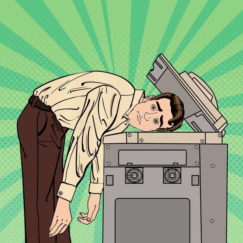 Hombre de negocios Stressed en oficina Tensión en el trabajo Arte pop Vector stock de ilustración