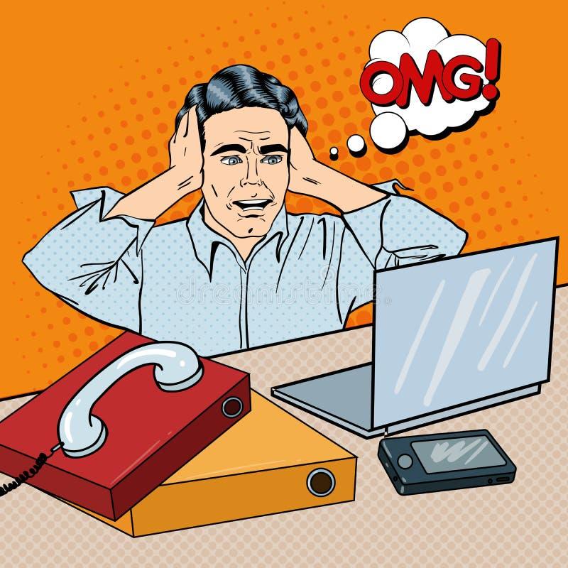 Hombre de negocios subrayado en el lugar de trabajo de oficina con el teléfono y el ordenador portátil Arte pop ilustración del vector