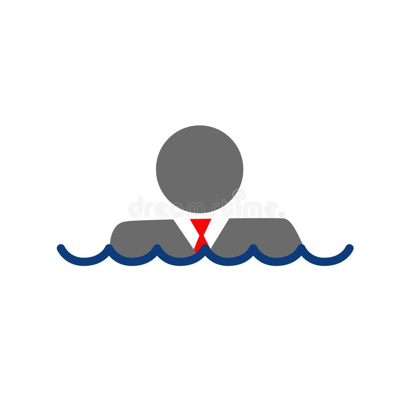 Hombre de negocios sumergido debajo del agua ilustración del vector