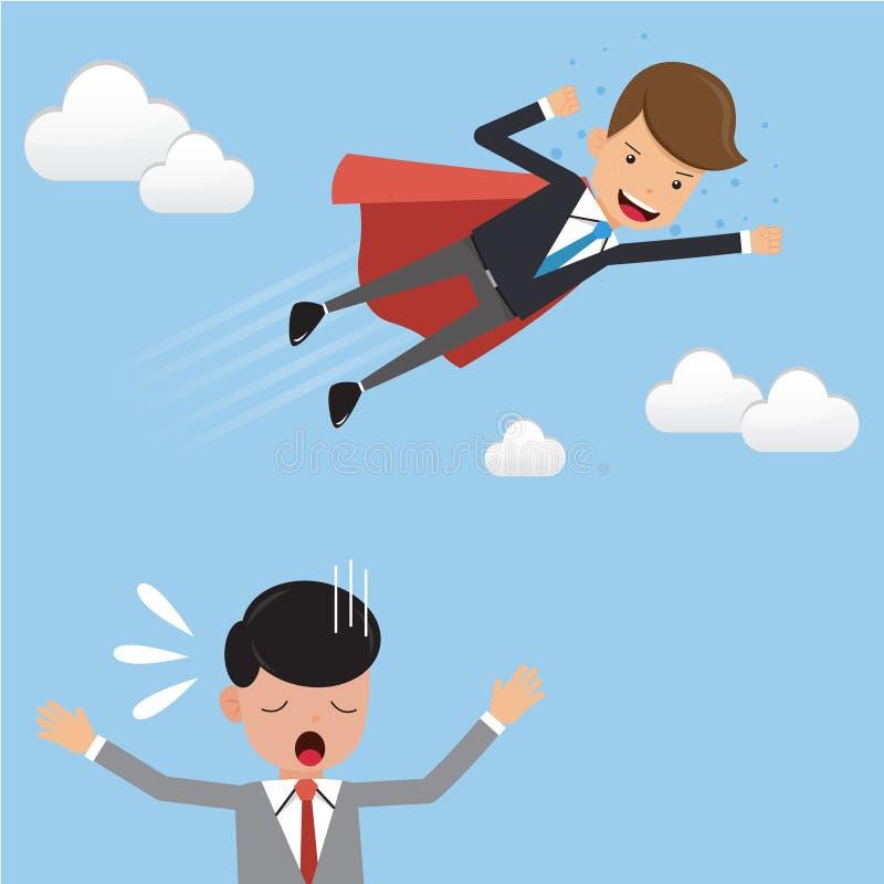 Hombre de negocios Superhero en mosca del traje sobre su competidor Estilo plano del ejemplo del vector del negocio del concepto stock de ilustración