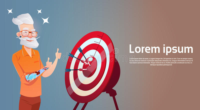 Hombre de negocios Target Business Goal del inconformista del hombre mayor stock de ilustración