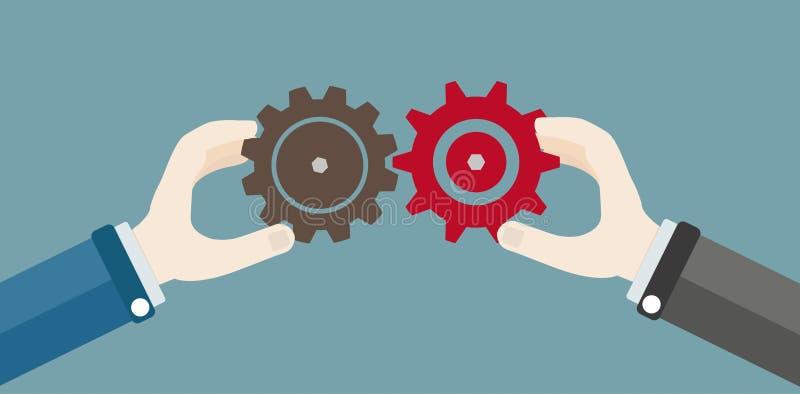 Hombre de negocios Teamwork Concept de los engranajes de las manos libre illustration