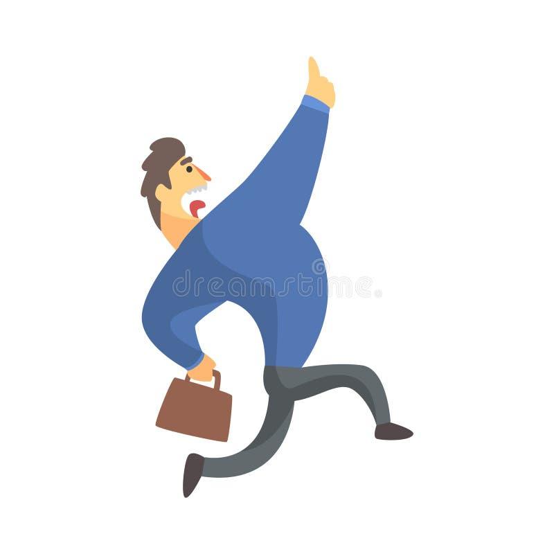 Hombre de negocios Top Manager In un griterío de funcionamiento del traje, oficina Job Situation Illustration libre illustration