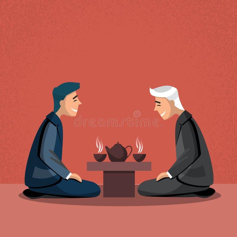 Hombre de negocios tradicional asiático de Asia de la ceremonia de té ilustración del vector