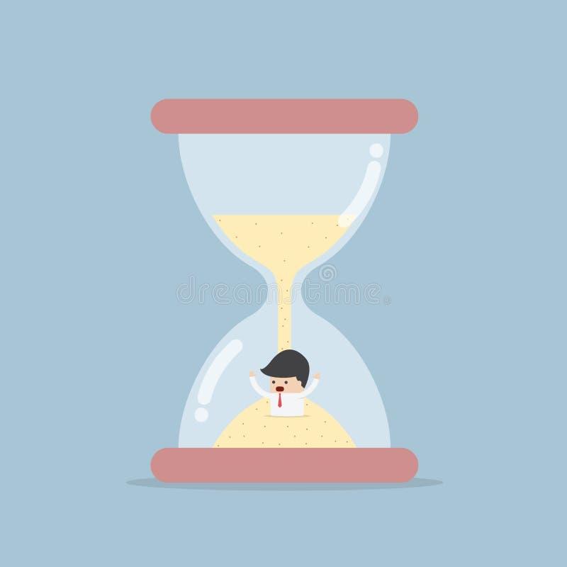 Hombre de negocios Trapped en reloj de arena ilustración del vector