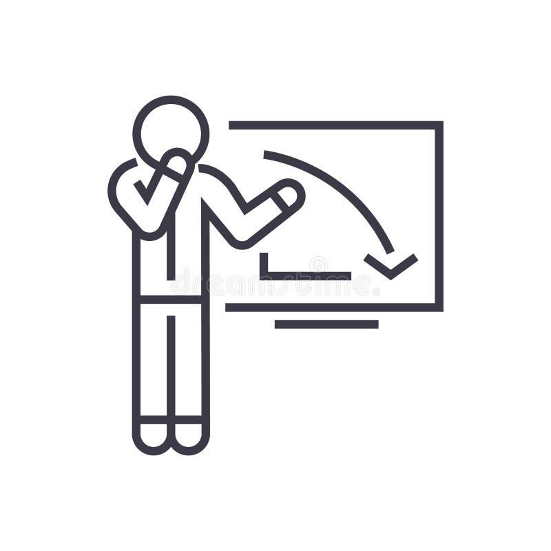 Hombre de negocios trastornado, del gráfico icono linear abajo, muestra, símbolo, vector en fondo aislado libre illustration
