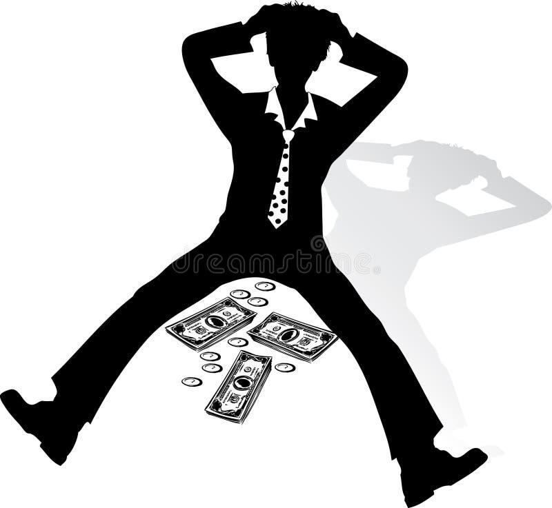 Hombre de negocios trastornado por crisis stock de ilustración