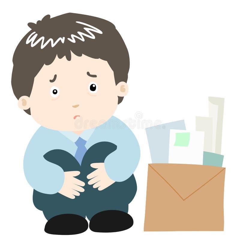 Hombre de negocios triste en el fondo blanco libre illustration